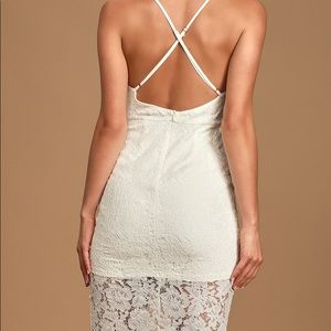 Lulu's Dresses - Flirting with Desire White Lace Bodycon Dress